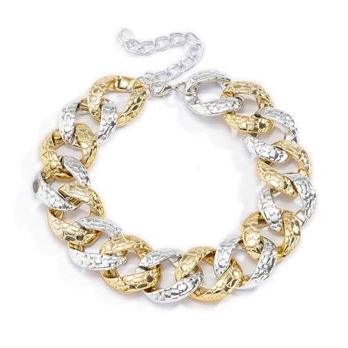 Combo gouden-zilveren halsketting.