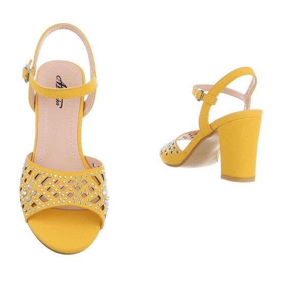 Trendy gele hoge sandaal Alani.