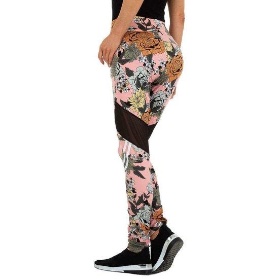 Trendy rose legging met floral motief.