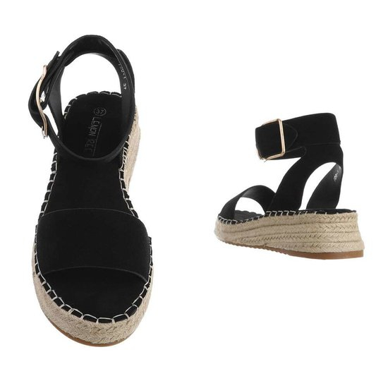 Zwarte sandaal met sleehak Esra.