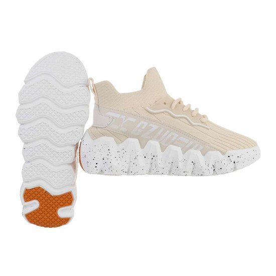 Fashion hoge beige textiel mixed  sneaker Miski.
