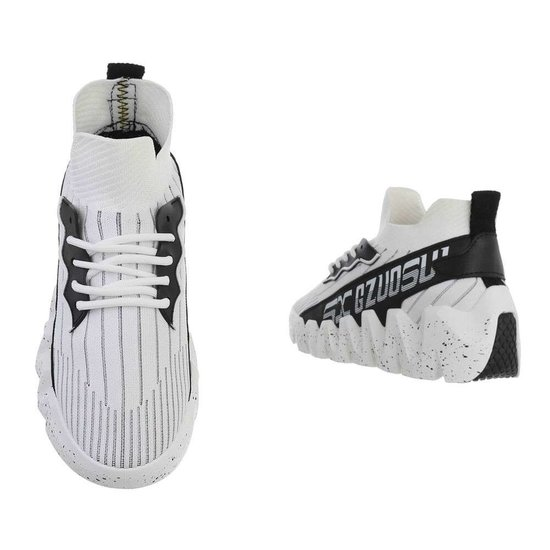 Fashion hoge witte textiel mixed  sneaker Miski.
