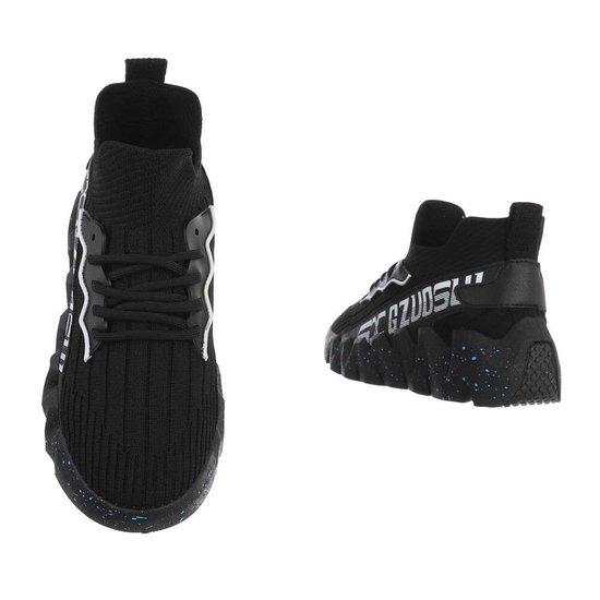 Fashion hoge zwarte textiel mixed  sneaker Miski.