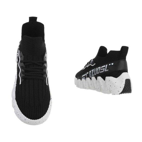 Fashion hoge zwart-witte textiel mixed  sneaker Miski.