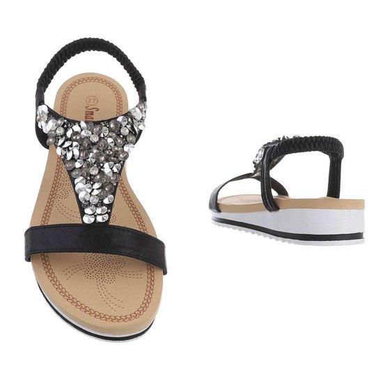 Lage zwarte sandaal Jane.