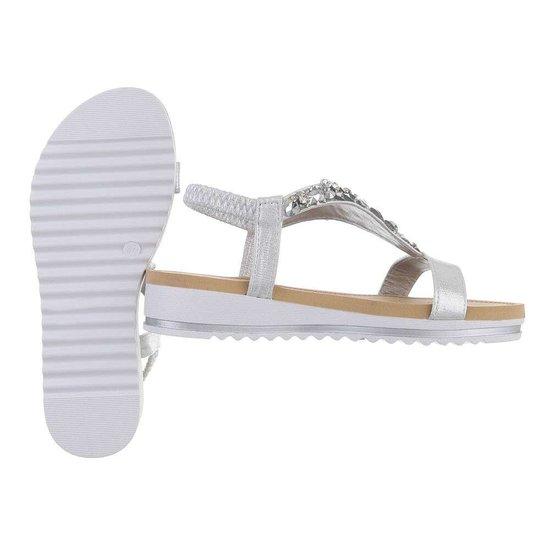 Lage zilveren sandaal Jane.