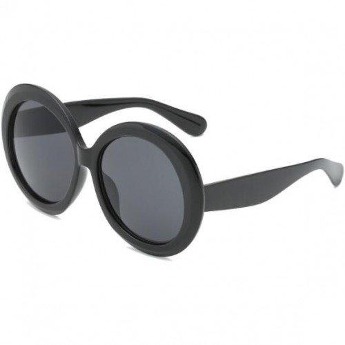 Grote zwarte robuste vintage zonnebril.