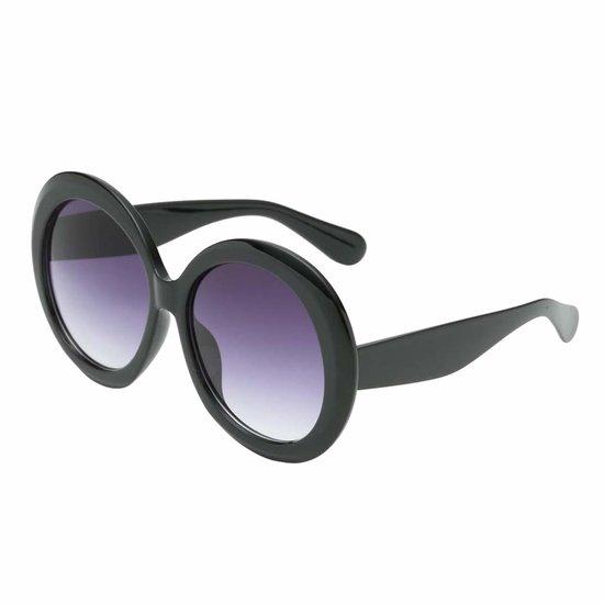 Grote zwart-blauwe robuste vintage zonnebril.