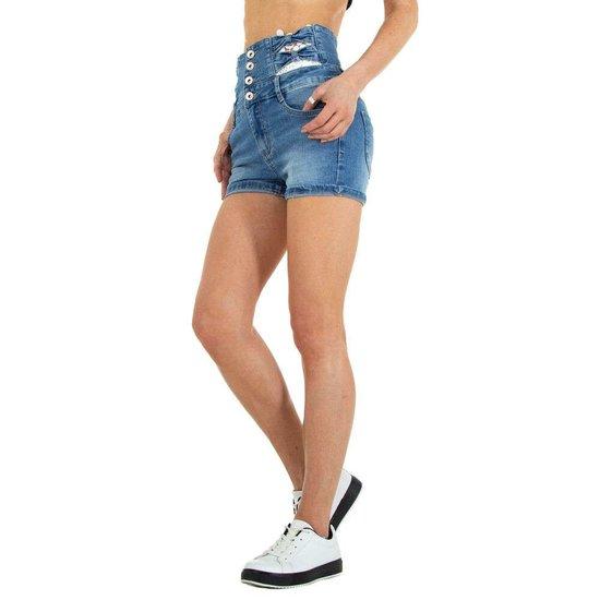 Trendy jeans short met hoge taille.