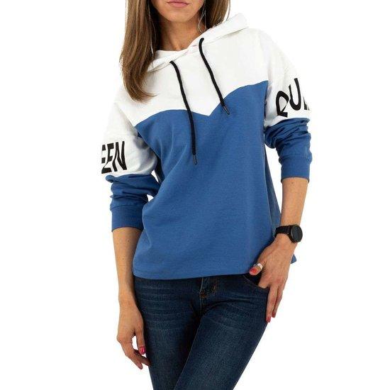 Blauw-witte sweater met opschrift.