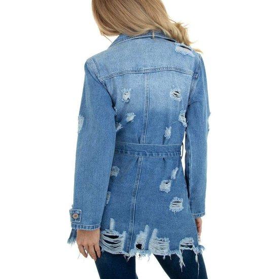 Destroyed midi jeans jas.