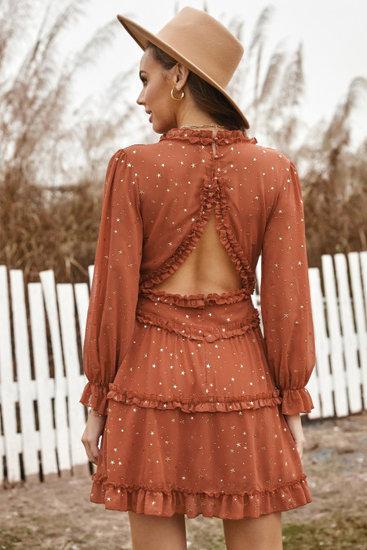 Roest bruine korte glitter jurk.