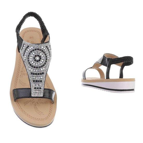 Lage zwarte sandaal Mouna.