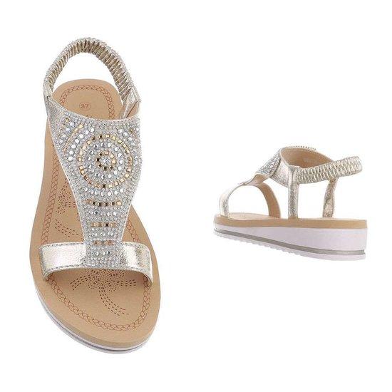 Lage gouden sandaal Mouna.