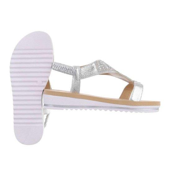 Lage zilveren sandaal Mouna.