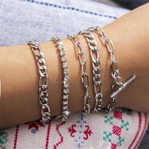 Zilveren 5 delige armband.
