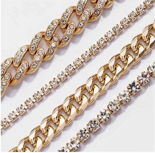Trendy 4 delige gouden armband.