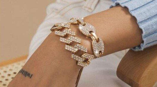 Trendy duo gouden armband set.