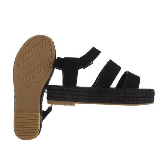 Zwarte platform sandaal Faysa.
