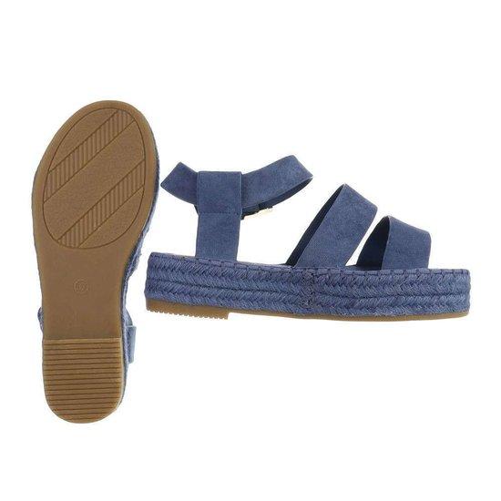 Blauwe platform sandaal Faysa.