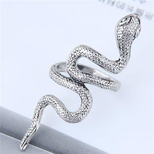 Vintage zilveren ring in slangvorm.