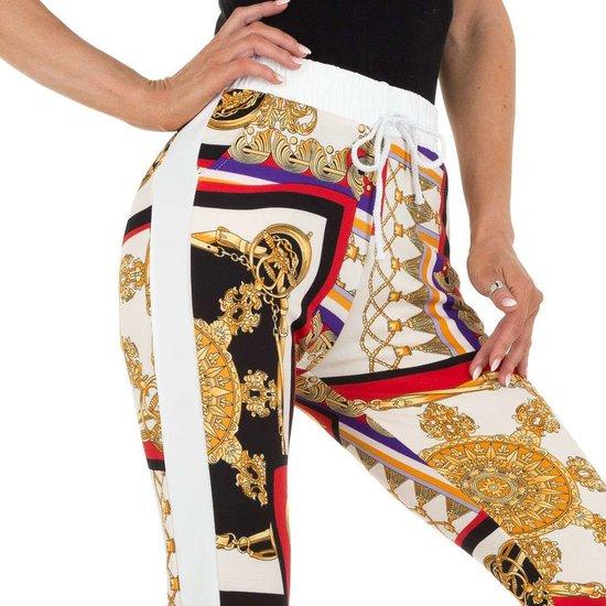 Witte mix legging met barok motief.