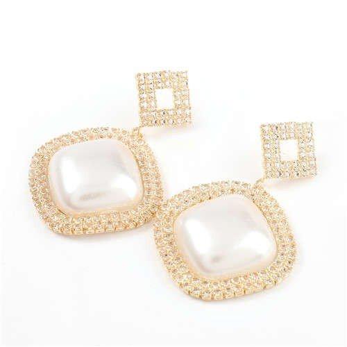 Gouden-zilveren vierkanten oorbellen met parel.