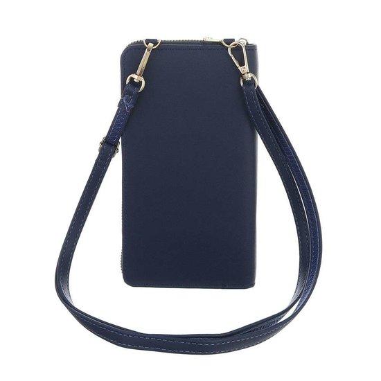 Blauw mini schoudertasje.