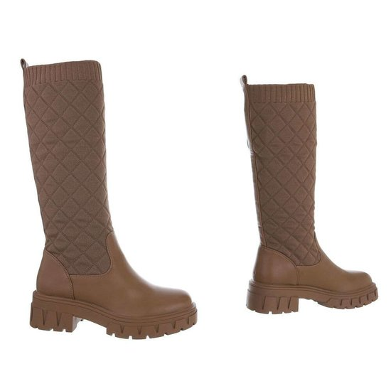 Trendy hoge kaki textiel laars Livana.