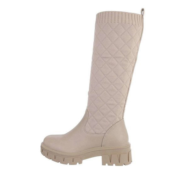 Trendy hoge beige textiel laars Livana.
