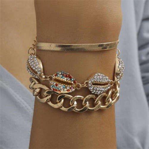 Stylish 3 delige gouden-multi armband.