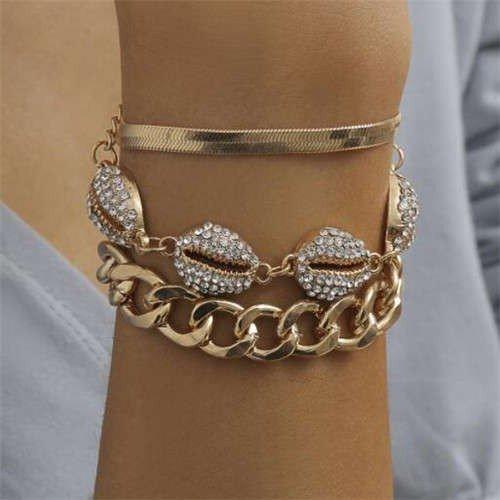 Stylish 3 delige gouden-witte armband.