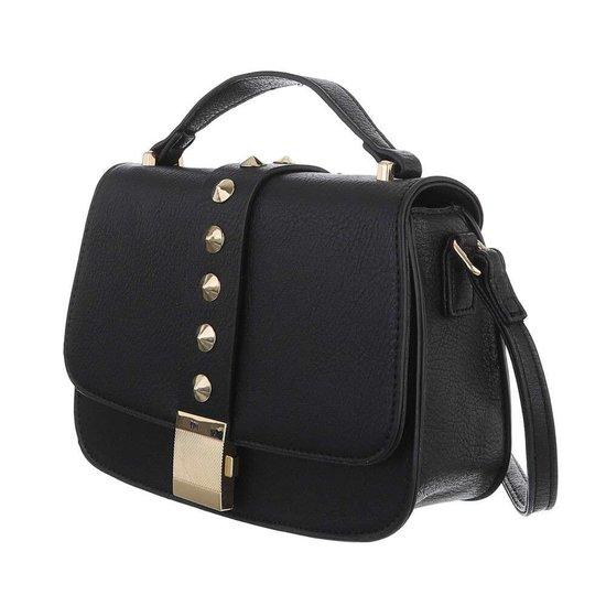 Kleine zwarte schoudertas met studs.
