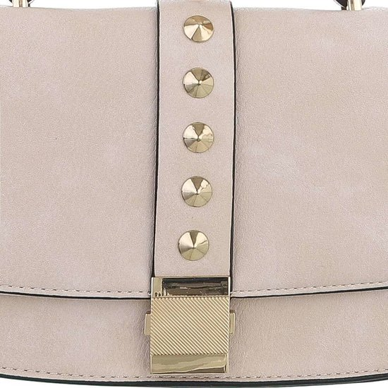 Kleine beige schoudertas met studs.
