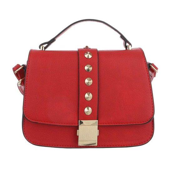 Kleine rode schoudertas met studs.