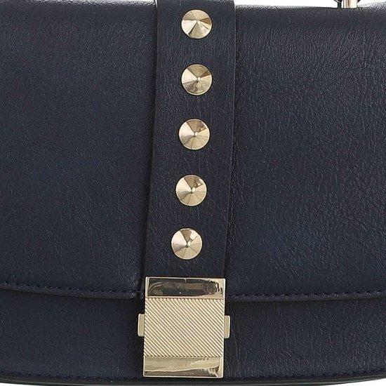 Kleine donker blauwe schoudertas met studs.