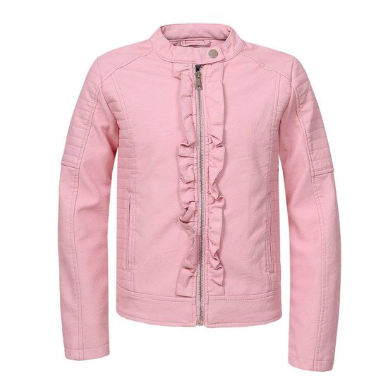 Rose vegan leather meisjes jas.