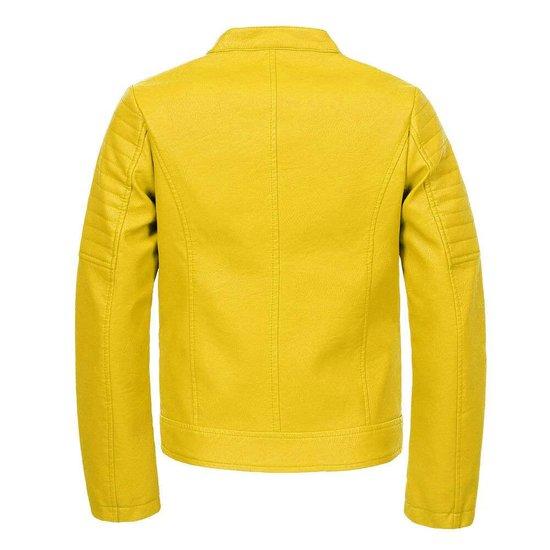 Gele vegan leather meisjes jas.SOLD OUT