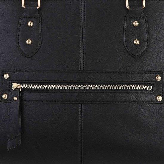 Klassieke zwarte trapezoid schoudertas.