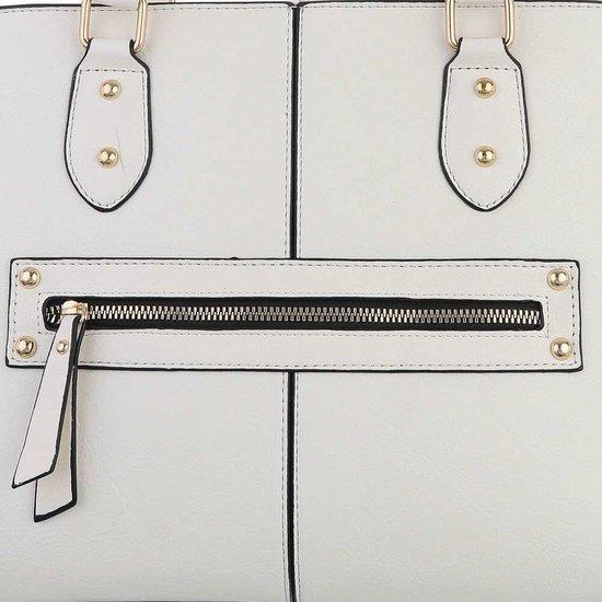 Klassieke witte trapezoid schoudertas.