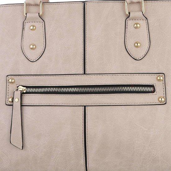 Klassieke beige trapezoid schoudertas.