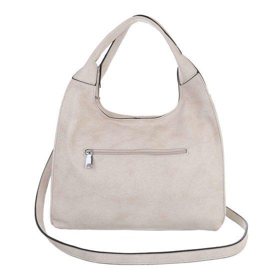 Middelgrote beige shopperbag.