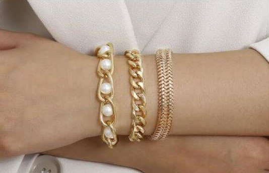 Trendy 3 delige gouden armband