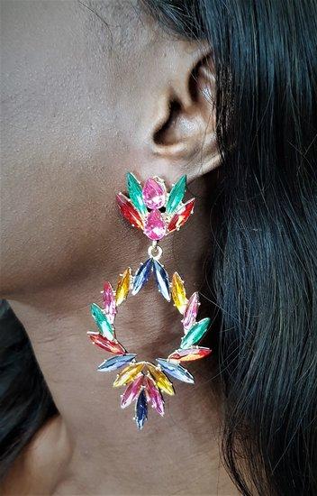 Multicolour oorbellen met patroon.
