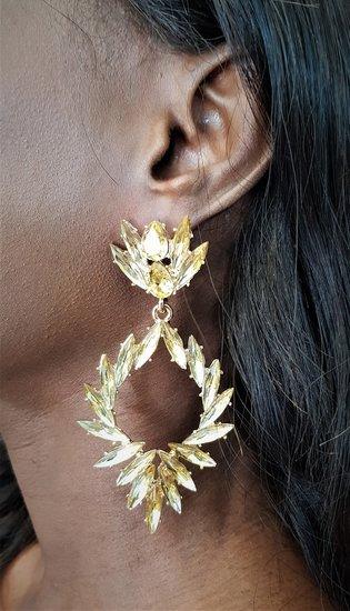 Gouden oorbellen met patroon.