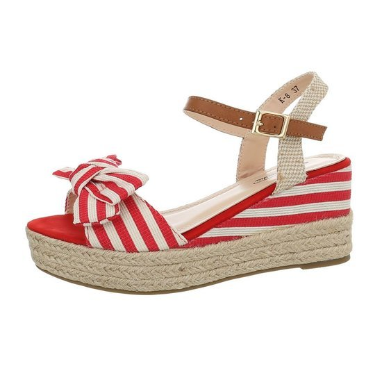 Zomerse rode wedge sandaal Manon.