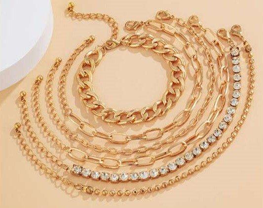 Trendy 6 delige gouden-zilveren armbanden-set