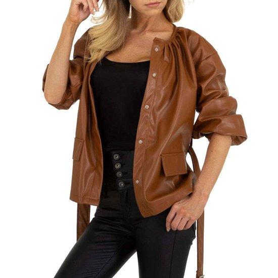 Bruine biker leatherlook vest.