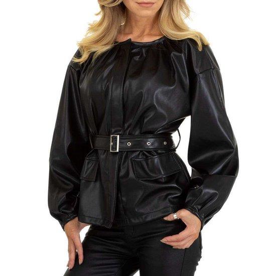 Zwarte biker leatherlook vest.