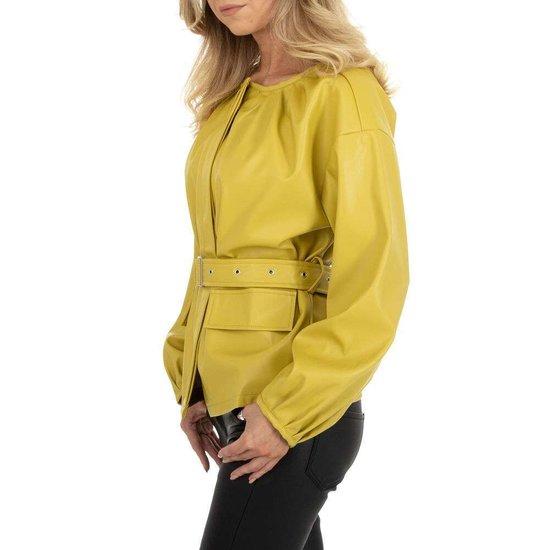 Gele biker leatherlook vest.